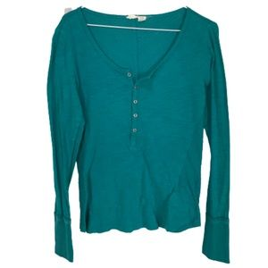 Roxy Long Sleeve Henley Top Teal Blue Medium
